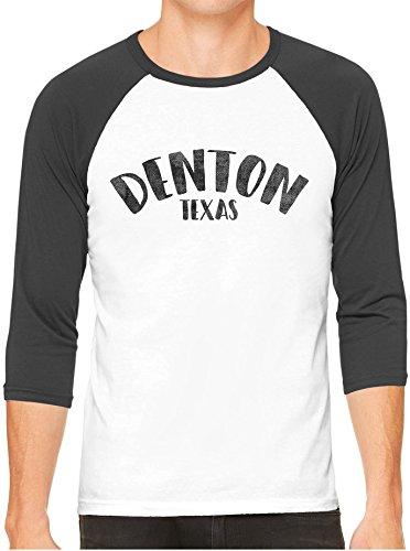 Austin Ink Apparel Unisex Mens City Of Denton Texas 3/4 Sleeve White Baseball T-Shirt, Black Sleeves, - Tx Women Denton To Women
