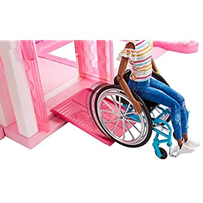 ​Barbie Fashionistas Doll, Brunette with Rolling Wheelchair and Ramp, for 3 to 8 Year Olds: Toys & Games