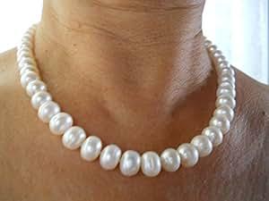 Blanco 7mm Agua dulce collar de perlas
