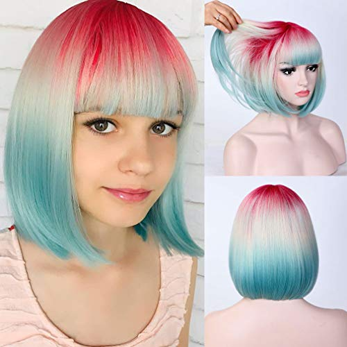 Short Bob Wig Synthetic WigBangs 3 Colors Ombre Bob Wig 12 inch Cosplay Wig for Women Halloween Party Costume Wig Heat Resistant 3 Tone