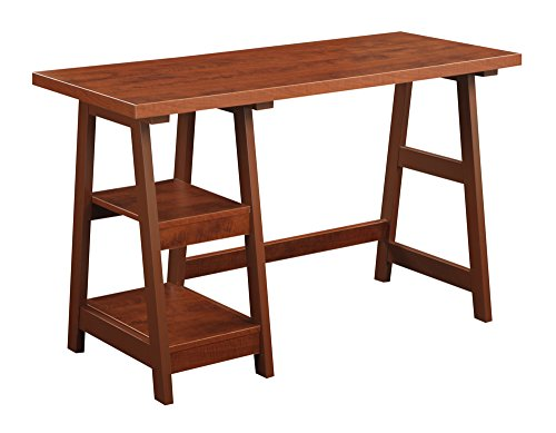 Convenience Concepts Designs2Go Trestle Desk, - End Cherry Country Table