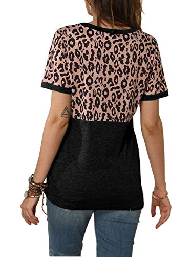 Bunanphy Womens Short/Long Sleeve Round Neck Leopard Color Block Side Twist Loose Fit Blouse Tunic Top T Shirt