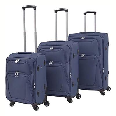 HomyDelight Suitcase, 3 Piece Soft Case Trolley Set Navy Blue