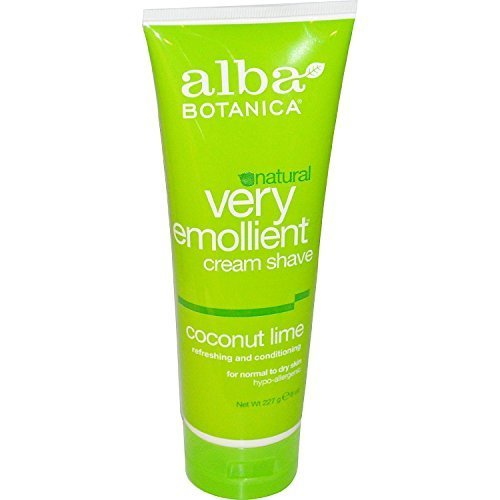Alba Botanica Natural Very Emollient Cream Shave, Coconut Lime 8 oz ( Pack of 2)