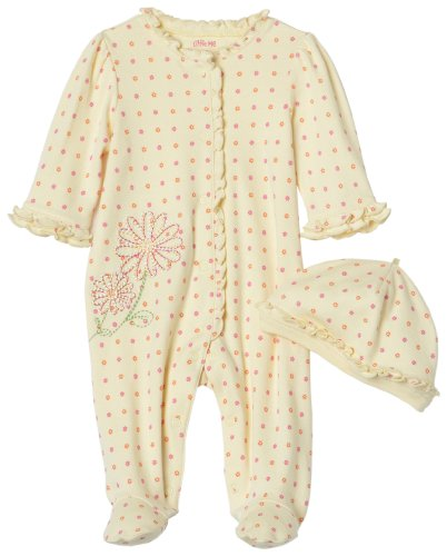 Little Me Fun Floral footie with Hat, Yellow Floral