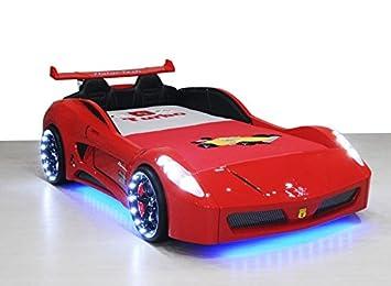 Xtrm Factory 81 V7 Led Lit Car Boy Children Bed 90 X 190 White