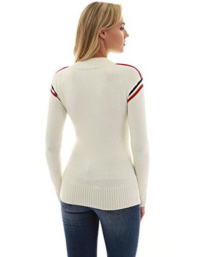 manicotto maglia del misura Avorio Donne del di PattyBoutik collo maglione lungo 7xIXzw5q