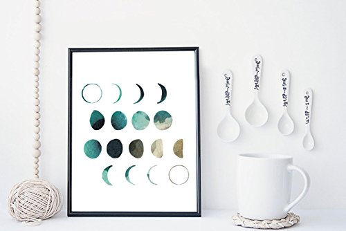 Watercolor moon phases wall art print poster - unframed