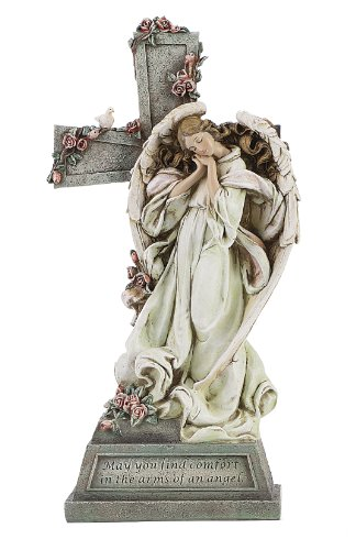Roman Memorial Angel with Cross and Verse, May You Find Comfort in the Arms of an Angel