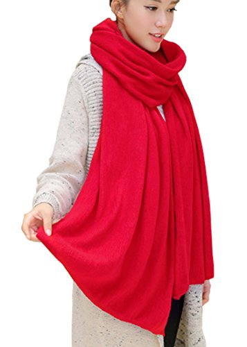 (Wander Agio Womens Warm Long Shawl Winter Upset Large Scarf Pure Color Red)