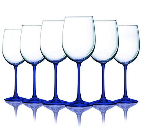 Blue Frost Accent (Cobalt Blue Wine Glasses with Beautiful Colored Stem Accent - 19 oz. set of 6- Additional Vibrant Colors Available)