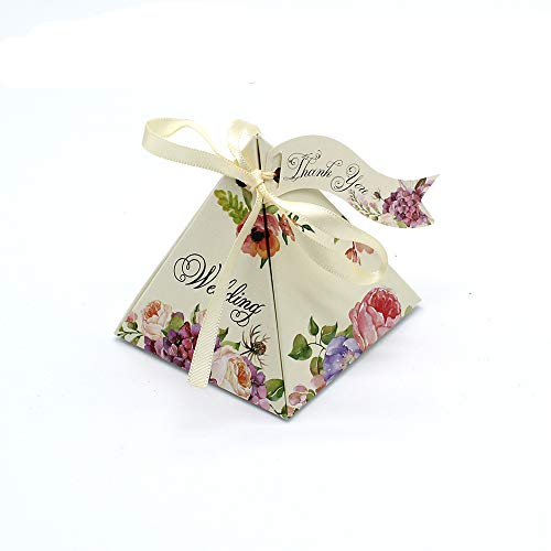 Gdeal Floral Pattern Wedding Gift Boxes Pyramid Design Paper Party Favor Candy Boxes with Ribbon & Tag Pack of 50 (Beige)