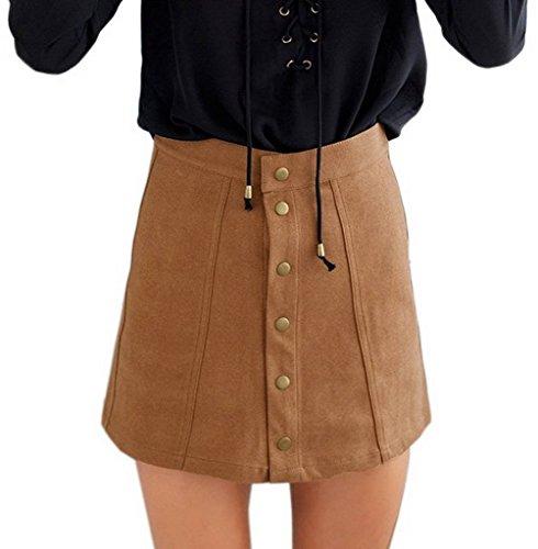 COMVIP Women's Solid Autumn Button Closure A-line Mini Short Skirts Khaki M by COMVIP (Image #1)
