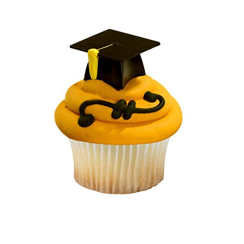 Black Graduation Cap Hat 3D Cupcake Picks - 24 -