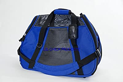 "LIL Chick Products (TM) Royal Blue Soft Sided Pet Carrier, ""FAA Airline Approved"" LARGE 19"" L X 9"" W X 13"" H Airlines Pet Carrier, 2016 Model"