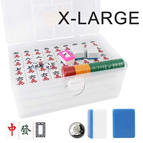 X - Large 广东大麻将 Chinese Guangdong Tiles Mahjong Set 144 Tiles 1.5 x 1.2 x 0.9 Inches Easy-to-Read Game Set/Complete Set Gift/Birthday (Mah-Jongg, Mah Jongg, Majiang) (sky blue) ()