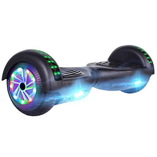 "UNI-SUN Bluetooth Hoverboard for Kids, 6.5"" Two-Wheel Self Balancing Hoverboard with Bluetooth and LED Lights, Electric Scooter for Adult with UL 2272 Certified(Black)"