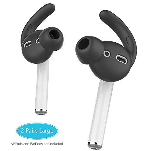 AhaStyle Ear Hooks and Covers Compatible with Apple AirPods and EarPods [Sound Quality Enhancement] (Black-2 Pairs Large)