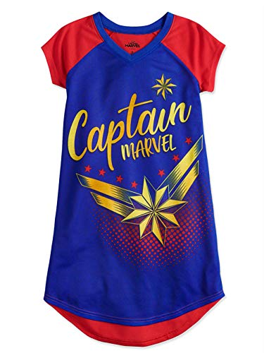 Captain Marvel Girl's Short Sleeve Nightgown Dorm Pajamas (6, Blue/Red) -