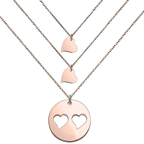 SEIRAA Mother Daughters Necklace Set Mom Daughter Heart Jewelry Gift for Mom (Mom&2daughters-RG)