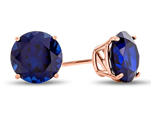Finejewelers 10k Rose Gold 7mm Round Created Blue Sapphire Stud Earrings ()
