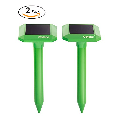 2 x Catcha Solar Powered Sonic Mole Repeller Control Mole, Voles, Gopher Rats and Mice Chaser Spike