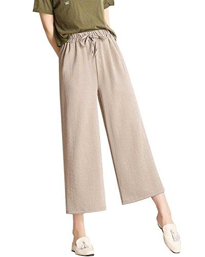 Pantaloni 7 Hellgrau Larghi Eleganti Pantaloni Pantaloni Donna Autunno Alta Vintage Women Grazioso 8 Moda Pants Pants Pantalone Giovane Libero Elastica Vita Monocromo Primaverile Vita Tempo IR7SqCSw