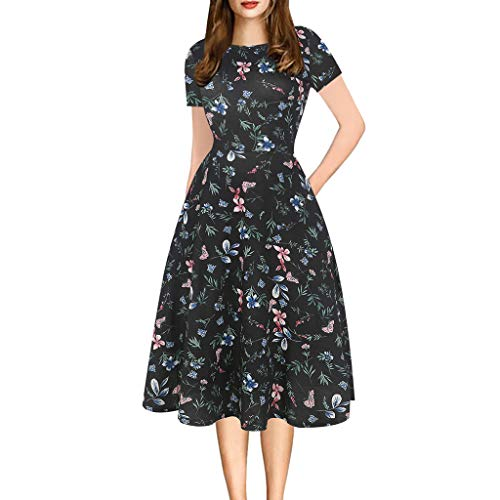 tail Dress Womens Patchwork Puffy Print Casual Party Swing Dress(Black,L) ()