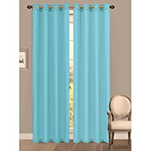 Window Elements Primavera Crushed Microfiber Extra Wide 60 in. Grommet Curtain Panel, Light Blue