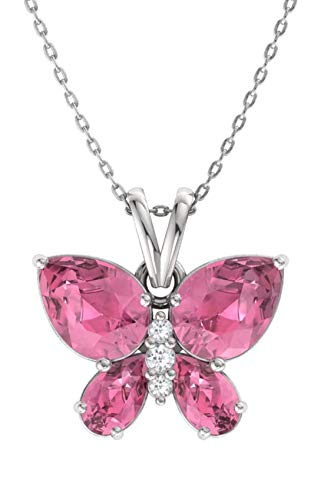 Diamondere Natural and Certified Pink Tourmaline and Diamond Butterfly Petite Necklace in 14k White Gold | 1.11 Carat Pendant with Chain