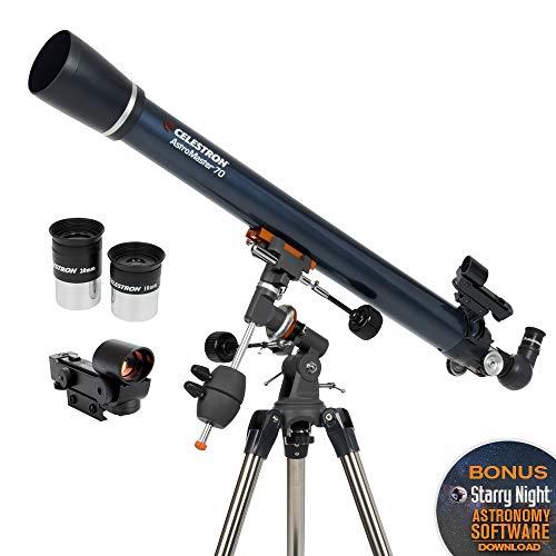Celestron - AstroMaster 70EQ Refractor Telescope - Refractor Telescope for Beginners - Fully-Coated Glass Optics - Adjustable-Height Tripod - BONUS Astronomy Software Package