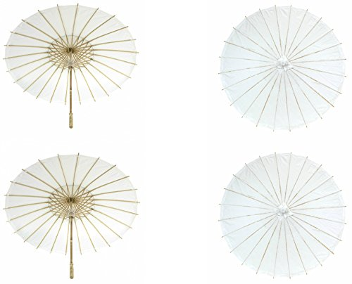 Koyal Wholesale 32-Inch Paper Parasol, Umbrella for Wedding, Bridesmaids, Party Favors, Summer Sun Shade (4, White) - Celebrity Halloween Costumes 2016 Ideas