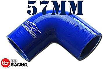 """2 1//4/"""" To 2 1//2/"""" 90 Degree Reducer Silicone Hose 57//64mm Turbo Coupler Pipe Blue"""