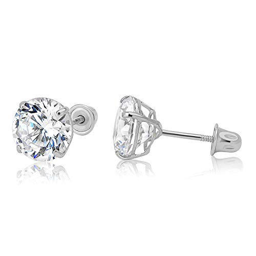 - 14k WG Screw Back Stud Earrings 7mm 41900