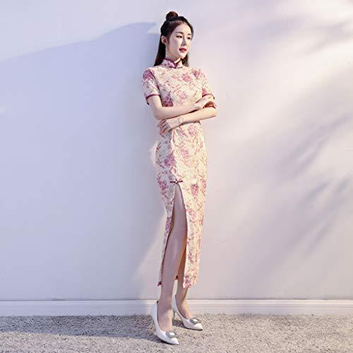 Abito Pink Della Nuova E M Ragazza Lunga Rosa Dignificato Pink colore Autunno Temperamento Atmosfera Sezione Dimensioni Pizzo Inverno Versione Moda Yaotiao Migliorata Cheongsam qwxZgB7nS