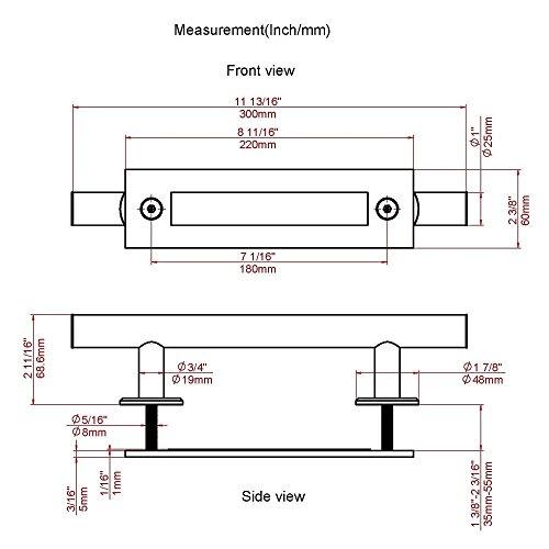 11-13/16in Matte Black Pull and Flush Handle Set for Sliding Barn Door Hardware by JUBEST (Image #2)