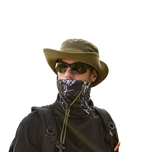 Sunyastor Summer Sun Hat Mesh Boonie Hat Adjustable Bucket Hats Sun Protection Hat Outdoor Cap Hat Fishing Hat for Men Army Green