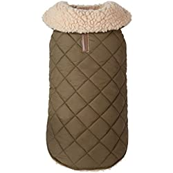 "fabdog Quilted Shearling Dog Coat Olive (18"")"