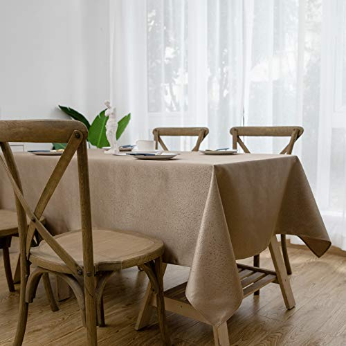 Aquazolax Farmhouse Chic Rectangular Tablecloth Luxury Damask Jacquard Elegant Weights Table Protector, 60 x 84 inches in Brown ()