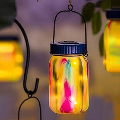 "Solar Lantern Outdoor Garden Decorative LED Light Waterproof Portable Hanging Lamp by CEDAR HOME, 13""H Watercolor Glass mason jar"