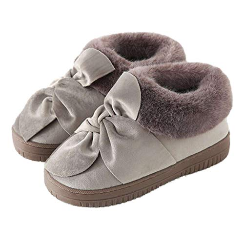 Womens 8 Shoes Indoor Outdoor Slippers Bow Cozy Slippers Khaki House Velvet rUfvOPr
