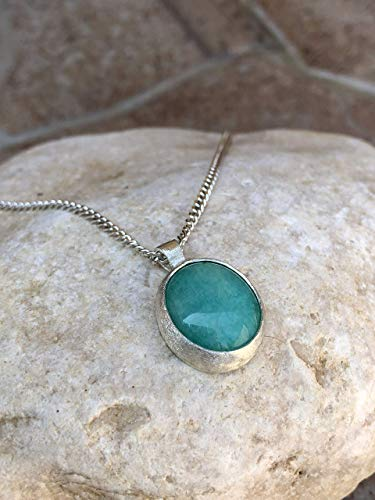 Sterling Silver Amazonite Stone Necklace, Handmade Oval Unique Pendant, Turquoise Boho Jewelry