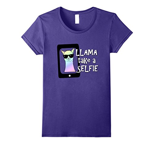 Womens Llama Take A Selfie T-Shirt Funny Animal Tee Mom Girl Gift Large - Love Sunglasses Culture
