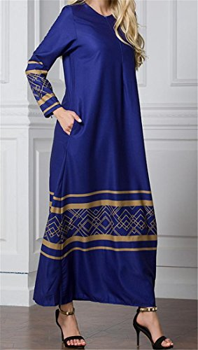 Gown Sleeve Malaysia Islamic Middle Women Dress East Cromoncent Long Size Abaya Blue Plus Muslim XwxqgF