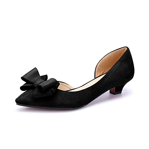 OCHENTA Women's Bowknot Pointed Toe Flat Pumps Black upDMS