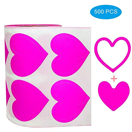 "3-Way Pink Love Heart Stickers,Removable Perforated Self Adhesive Hearts Shape Labels - Art & Craft Projects - Sticker-Bombing & Gift Wrappings (1.5"",500PCS/Roll)"