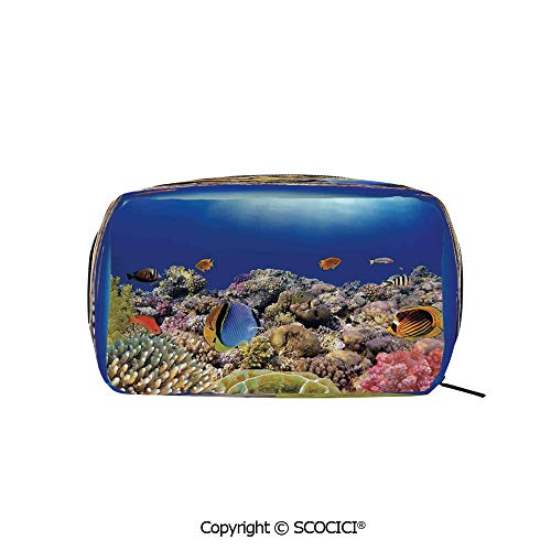 - Printed Portable rectangle Makeup Cosmetic Bag Wild Sea Life Colorful Ancient Coral Reefs Exotic Fishes Indonesia Durable storage bag for Women Girls