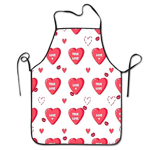 Novelty Kitchen Apron for Women Love Red Hearts Kisses Happy Valentine S Day Red Hearts Kisses Happy Valentine Painting Pattern BBQ Cooking Apron for Men