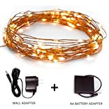 Fairy Star String Lights - 39ft Extra Long Warm White LED Copper Wire Indoor Outdoor - Wall adapter and Battery Adaptor Included plus Remote Control