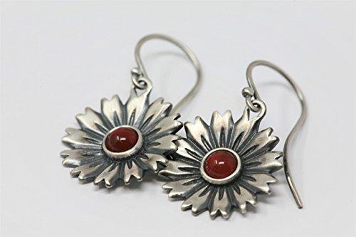 Carnelian and Sterling Silver Flower Earrings in Antique - Floral Earrings Carnelian